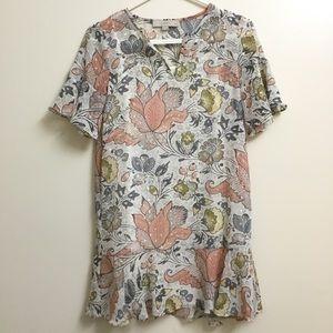 Loft Metallic Floral Ruffle Dress XXS Petite Party